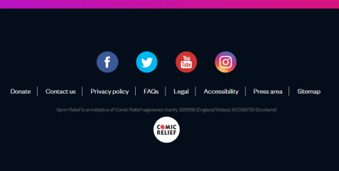 Screenshot of the sportrelief.com footer menu - the links of which do not have a hover state and so are not AA compliant
